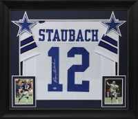 Roger Staubach Signed 32x37 Custom Framed Jersey Display (Beckett COA) at PristineAuction.com