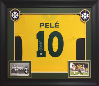 Pele Signed 32x37 Custom Framed Jersey Display (PSA COA) at PristineAuction.com