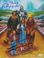 """Karl Slover, Mickey Carroll, & Jerry Maren Signed """"The Wizard of Oz"""" 11x14 Photo with (4) Movie Inscriptions (JSA COA) at PristineAuction.com"""