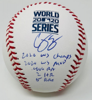 Corey Seager Signed 2020 World Series LE Baseball with Multiple Stat Inscriptions (Fanatics Hologram) at PristineAuction.com