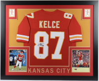 Travis Kelce Signed 35x43 Custom Framed Jersey (Beckett COA) at PristineAuction.com