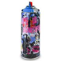 """Mr. Brainwash Signed """"Just Kidding (Cyan)"""" Limited Edition 2x7 Hand Painted Spray Can #125/125 with Thumbprint at PristineAuction.com"""