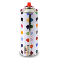"""Mr. Brainwash Signed """"Hirst Dots (Pink)"""" Limited Edition 2x7 Hand Painted Spray Can #125/200 with Thumbprint at PristineAuction.com"""
