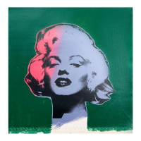 "Steve Kaufman Signed ""Marilyn Monroe"" Limited Edition 18x18 Hand Pulled Silkscreen Mixed Media on Canvas at PristineAuction.com"