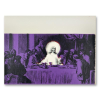"Steve Kaufman Signed ""Jesus Last Supper Purple"" Limited Edition 17x22 Hand Pulled Silkscreen Mixed Media on Canvas at PristineAuction.com"