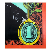 """Steve Kaufman Signed """"Bottom of a Dollar"""" Limited Edition 21x18 Hand Pulled Silkscreen Mixed Media on Canvas at PristineAuction.com"""