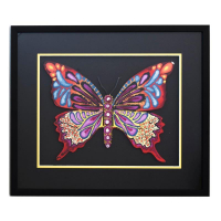 "Patricia Govezensky Signed ""Butterfly CCXIX"" 19x22 Custom Framed Original Painting on Laser Cut Steel at PristineAuction.com"