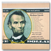 "Steve Kaufman Signed ""Abraham Lincoln, Portrait of an Achiever"" Limited Edition 26x25 Hand Pulled Silkscreen Mixed Media on Canvas at PristineAuction.com"