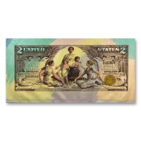"Steve Kaufman Signed ""1896 $2.00 Silver Certificate"" Limited Edition 17x34 Hand Pulled Silkscreen Mixed Media on Canvas at PristineAuction.com"