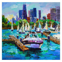 "Yana Rafael Signed ""City Boat Slip"" 24x24 Original Painting on Canvas at PristineAuction.com"