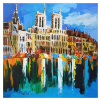 "Yana Rafael Signed ""City on the Waterfront"" 24x24 Original Painting on Canvas at PristineAuction.com"