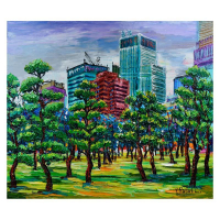 "Yana Rafael Signed ""Trees in Bloom"" 24x36 Original Painting on Canvas at PristineAuction.com"