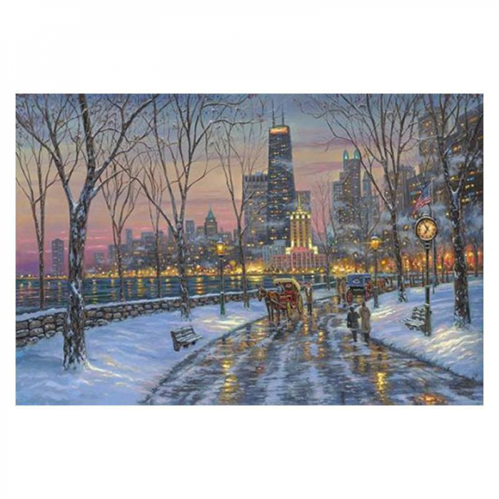 """Robert Finale Signed """"Chicago Skyline"""" Artist Embellished Limited Edition 24x36 Giclee on Canvas at PristineAuction.com"""