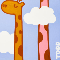 "Todd Goldman Signed ""Giraffe"" 48x72 Original Acrylic Painting on Gallery Wrapped Canvas at PristineAuction.com"
