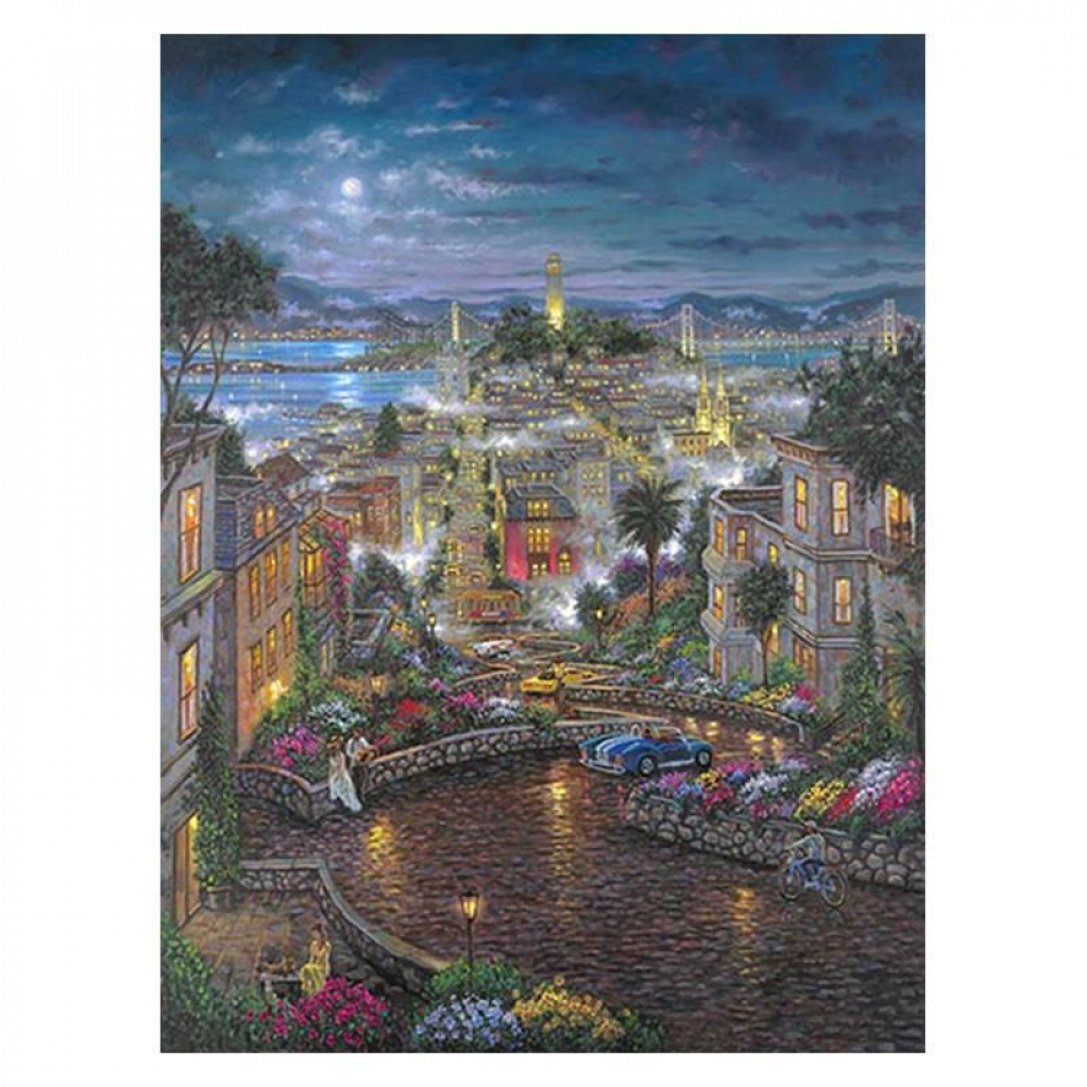 "Robert Finale Signed ""Moonlight O Lombard"" 40x30 Artist Embellished AP Limited Edition Giclee on Canvas at PristineAuction.com"