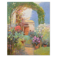 "Ming Feng Signed ""Arch in Bloom"" 24x30 Original Oil Painting on Canvas at PristineAuction.com"