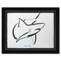 "Wyland Signed ""Great White"" 37x30 Custom Framed Original Watercolor Painting at PristineAuction.com"