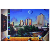 """Ferjo Signed """"Downtown Houston"""" 24x36 Original Painting on Canvas at PristineAuction.com"""