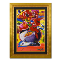 "Peter Max Signed ""Flowers"" 35x47 Custom Framed One-Of-A-Kind Acrylic Mixed Media at PristineAuction.com"