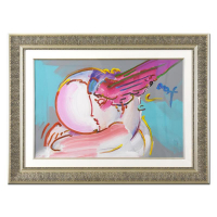 "Peter Max Signed ""I Love the World"" 47x35 Custom Framed One-Of-A-Kind Acrylic Mixed Media at PristineAuction.com"