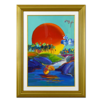 "Peter Max Signed ""Without Borders"" 34x46 Custom Framed One-Of-A-Kind Acrylic Mixed Media at PristineAuction.com"