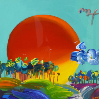 """Peter Max Signed """"Without Borders"""" 34x46 Custom Framed One-Of-A-Kind Acrylic Mixed Media at PristineAuction.com"""
