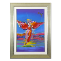"Peter Max Signed ""Ascending Angel"" 34x46 Custom Framed One-Of-A-Kind Acrylic Mixed Media at PristineAuction.com"
