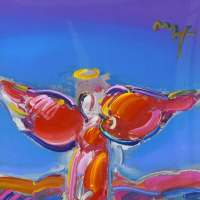 """Peter Max Signed """"Ascending Angel"""" 34x46 Custom Framed One-Of-A-Kind Acrylic Mixed Media at PristineAuction.com"""