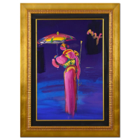 "Peter Max Signed ""Umbrella Man with Cane"" 35x47 Custom Framed One-Of-A-Kind Acrylic Mixed Media at PristineAuction.com"