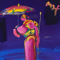 """Peter Max Signed """"Umbrella Man with Cane"""" 35x47 Custom Framed One-Of-A-Kind Acrylic Mixed Media at PristineAuction.com"""