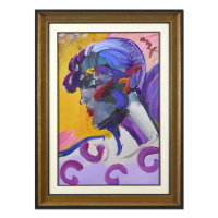 "Peter Max Signed ""Palm Beach Lady"" 33x45 Custom Framed One-Of-A-Kind Acrylic Mixed Media at PristineAuction.com"