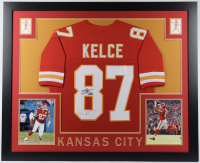 Travis Kelce Signed 35x43 Custom Framed Jersey (Beckett COA) (See Description) at PristineAuction.com