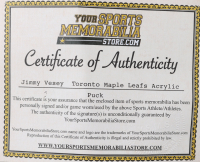 Jimmy Vesey Signed Maple Leafs Logo Acrylic Hockey Puck (Your Sports Memorabilia Store COA) at PristineAuction.com