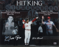 "Pete Rose Signed Reds 16x20 Photo Inscribed ""Hit King"" (Fiterman Sports Hologram) at PristineAuction.com"