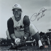 "Pete Rose Signed Reds 15x15 Photo Inscribed ""Hit King"" (Fiterman Sports Hologram) at PristineAuction.com"