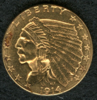 1914-D $2.50 Indian Head Gold Coin at PristineAuction.com