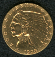 1928 $2.50 Indian Head Gold Coin at PristineAuction.com