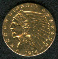 1914 $2.50 Indian Head Gold Coin at PristineAuction.com
