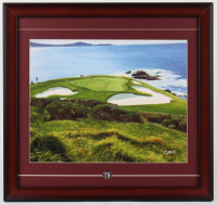 Pebble Beach Golf Links 17x18 Custom Framed Photo Display with Pebble Beach Golf Links Ball Marker at PristineAuction.com