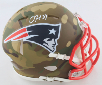 Damien Harris Signed Patriots Camo Alternate Speed Mini Helmet (Beckett COA) at PristineAuction.com