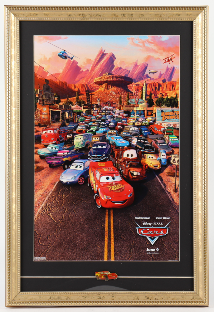 """""""Cars"""" 15x23 Custom Framed Movie Poster Display with Cars Pin at PristineAuction.com"""