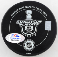 """Yanni Gourde Signed 2020 Lightning Stanley Cup Champions Logo Hockey Puck Inscribed """"Party in the Bay!"""" (PSA COA) at PristineAuction.com"""