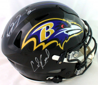 Ray Lewis & Ed Reed Signed Ravens Full-Size Authentic On-Field Speedflex Helmet (Beckett COA) at PristineAuction.com