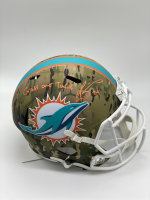"""Ricky Williams Signed Dolphins Full-Size Camo Alternate Speed Helmet Inscribed """"Grass Over Turf"""" (Radtke COA) at PristineAuction.com"""