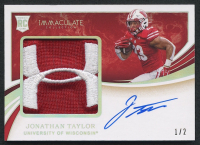 Jonathan Taylor 2020 Immaculate Collection Collegiate Premium Patches Rookie Autographs Brand Logo #116 - #1/2 at PristineAuction.com
