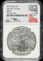 2017 American Silver Eagle $1 One Dollar Coin - John M. Mercanti Signed Label (NGC MS70) at PristineAuction.com