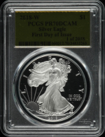 2018-W American Silver Eagle $1 One Dollar Coin - First Day of Issue - Gold Foil Label (PCGS PR70 DCAM) at PristineAuction.com