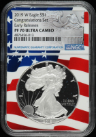 2019-W American Silver Eagle $1 One Dollar Coin - Early Releases, Congratulations Set (NGC PF70 Ultra Cameo) at PristineAuction.com