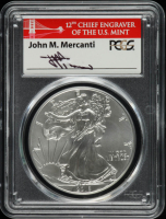 2018-W American Silver Eagle $1 One Dollar Coin, First Strike at West Point - John M. Mercanti Signed Label (PCGS MS70) at PristineAuction.com