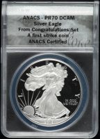 2019-W American Silver Eagle $1 One Dollar Coin - First Strike - Black Eagle Label (ANACS PR70 DCAM) at PristineAuction.com